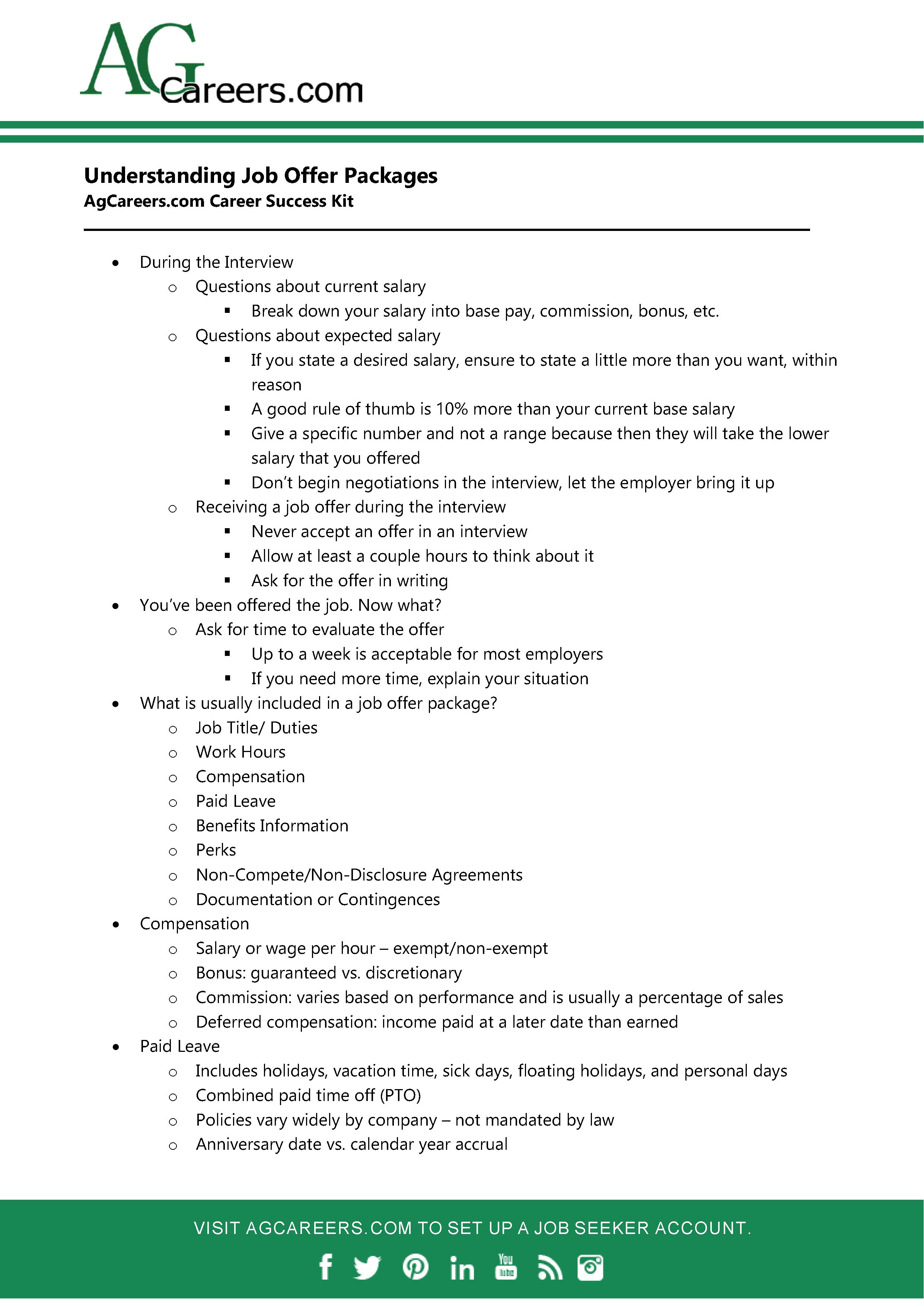 Careers.com Career Success Kit: Understanding the Job Offer Package